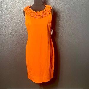 NWT Taylor Ruffled Collar Sheath Dress